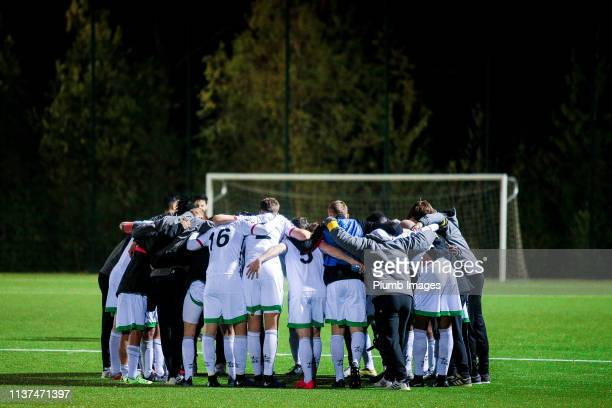 The team of OH Leuven ahead of the penalties during the Reserve Pro League Cup match between OH Leuven Beloften and RSC Anderlecht Reserve at the...