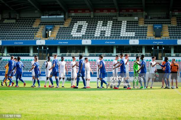 The team of OH Leuven and The team of Leicester City ahead of the pre-season friendly game between OH Leuven and Leicester City U23 at King Power at...