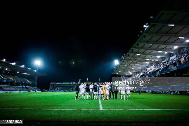 The team of OH Leuven celebrate after winning the Proximus League match between OH Leuven and Sporting Lokeren at the King Power at den dreef Stadion...