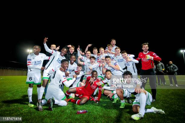 The team of OH Leuven celebrating their victory after winning the Reserve Pro League Cup match between OH Leuven Beloften and RSC Anderlecht Reserve...