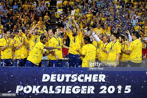 The team of Oldenburg celebrate after winning the BEKO BBL Top Four final game between EWE Baskets Oldenburg and Brose Baskets Bamberg at Ewe Arena...