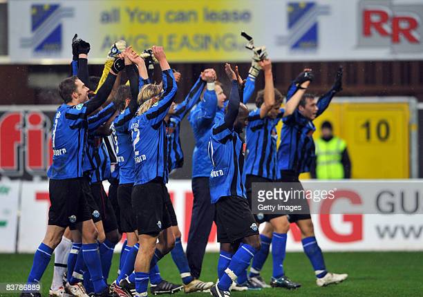 The Team of Paderborn celebrates after winning the 3 Bundesliga match between SC Paderborn and VfR Aalen at the Paragon Arena on November 22 2008 in...