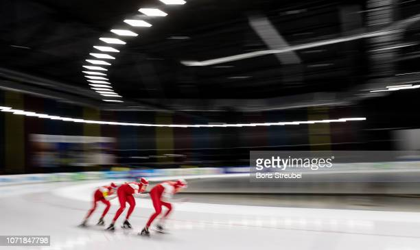 The team of Poland compete in the Women's Team Persuit Division A race on day one of the ISU World Cup Speed Skating at Tomaszow Mazoviecki Ice Arena...