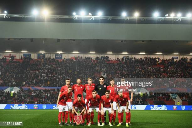 The team of Poland line up during the U21 International Friendly match between England and Poland at Ashton Gate on March 21 2019 in Bristol England