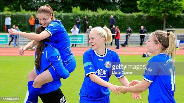 The Team of Potsdam celebrates the Championship during the U17 Girl's Bundesliga final match between SV Werder Bremen and Turbine Potsdam at Werser...