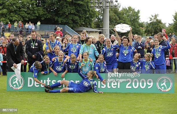 The team of Potsdam celebrateswinning the German titel during the Women Bundesliga match between FFC Turbine Potsdam and VfL Wolfsburg at the...