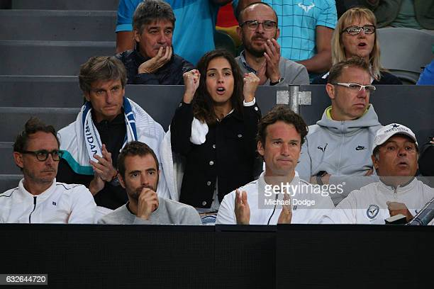 The team of Rafael Nadal of Spain watch his quarterfinal match against Milos Raonic of Canada on day 10 of the 2017 Australian Open at Melbourne Park...