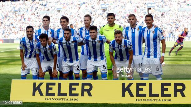 The team of Real Sociedad pose for a photo prior to the La Liga match between Real Sociedad and FC Barcelona at Estadio Anoeta on September 15 2018...