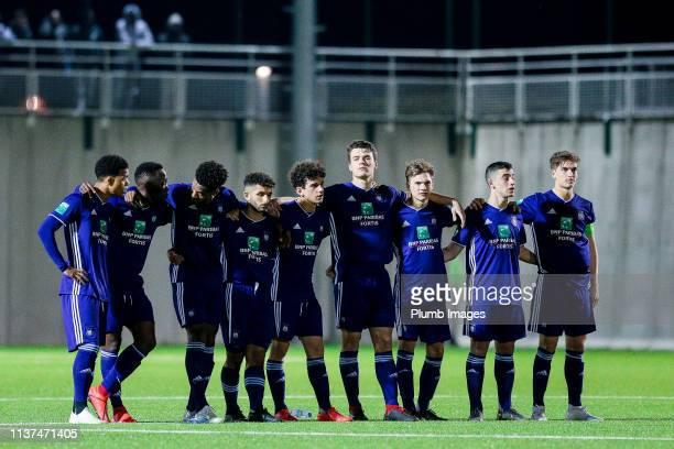 The team of RSC Anderlecht during the Reserve Pro League Cup match between OH Leuven Beloften and RSC Anderlecht Reserve at the Neerpede training...