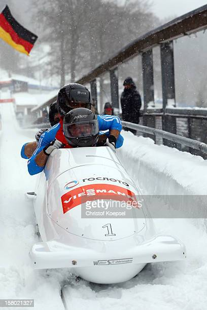 The team of Russia 1 celebrates their victory during the four men's bob competition during the FIBT Bob & Skeleton World Cup at Bobbahn Winterberg on...