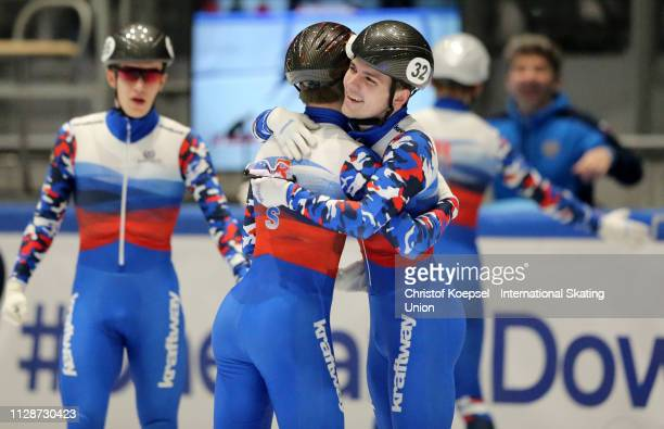 The team of Russia celebrates winning the men 5000 meter relay final A of the ISU Short Track World Cup Day 2 at Tazzoli Ice Rink on February 10 2019...