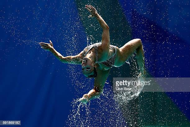 The team of Russia compete during the Synchronised Swimming Teams Technical Routine at the Maria Lenk Aquatics Centre on Day 13 of the 2016 Rio...
