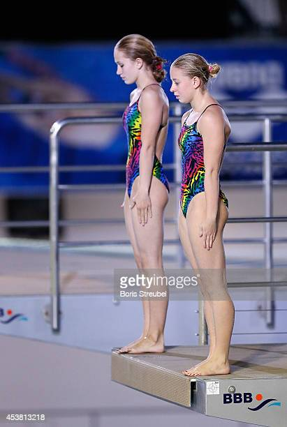 The team of Russia competes in the women's 10m synchronised platform preliminaries during day seven of the 32nd LEN European Swimming Championships...