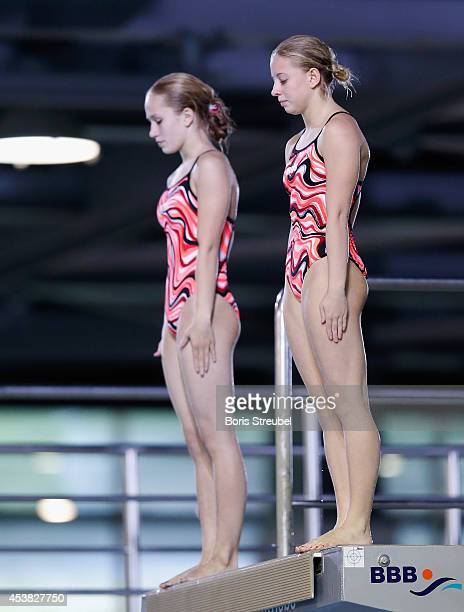 The team of Russia competes in the women's 10m synchronised platform final during day seven of the 32nd LEN European Swimming Championships 2014 at...
