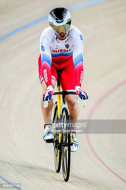 The team of Russia with Pavel Yakushevskiy Denis Dmitriev and Nikita Shurshin competes during the Men«s Sprint Final round heat as part of the UCI...