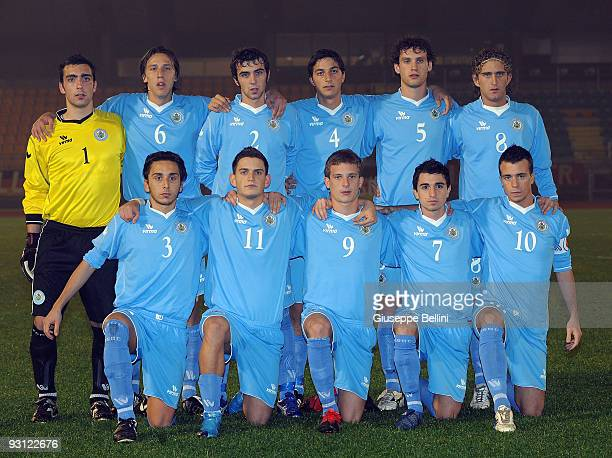 The team of San Marino seen before the UEFA Under 21 Championship match between San Marino and Germany at Olimpico stadium on November 17, 2009 in...