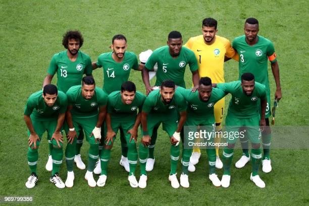 The team of Saudi Arabia poses prior to the International friendly match between Germany and Saudi Arabia at BayArena on June 8 2018 in Leverkusen...