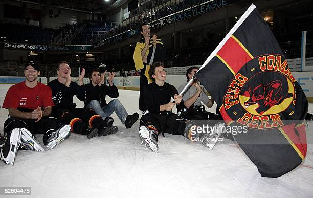 The team of SC Bern celebrating after winning the Champions Hockey League Qualification Match between SC Bern and HC Kosice on September 13, 2008 in...