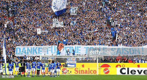 The team of Schalke celebrates in front of their fans after the Bundesliga match between FC Schalke 04 and Werder Bremen at Veltins Arena May 1 2010...
