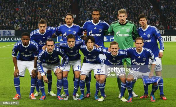 The team of Schalke is pictured prior to the UEFA Champions League group B match between FC Schalke 04 and Arsenal FC at VeltinsArena on November 6...