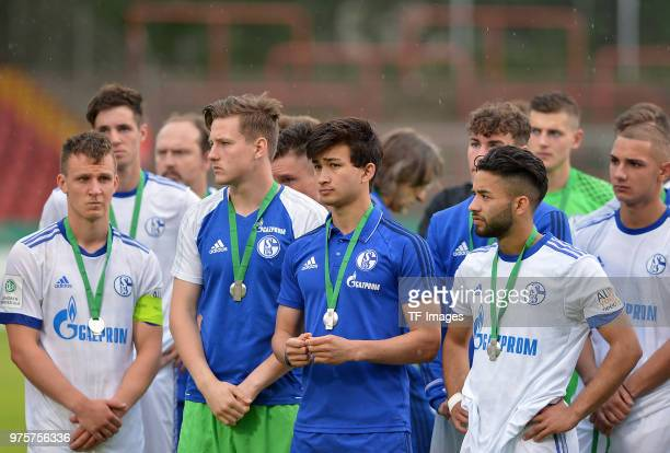 The team of Schalke looks dejected after the German A Juniors Championship final match between FC Schalke 04 U19 and Hertha BSC U19 at Stadion...