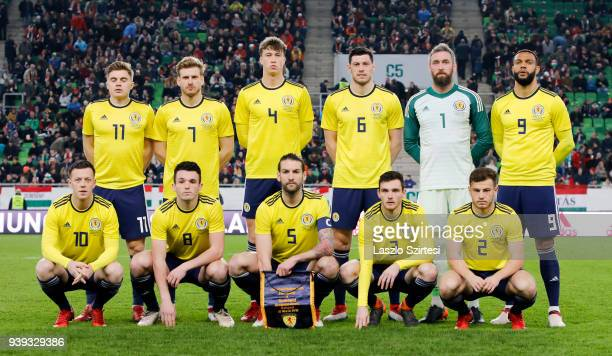 The team of Scotland during the International Friendly match between Hungary and Scotland at Groupama Arena on March 27 2018 in Budapest Hungary