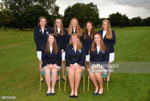 The team of Scotland Ladies pose for a team photo during The Ladies' and Girls' Home Internationals at Little Aston Golf Club on August 8 2017 in...