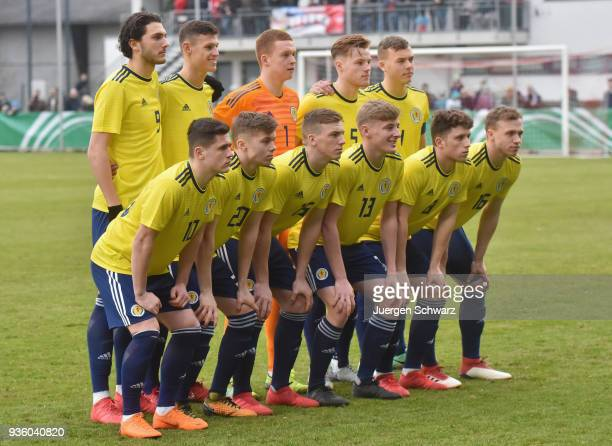 The team of Scotland poses prior to the Under 19 Euro Qualifier between Germany and Scotland on March 21 2018 in Lippstadt Germany