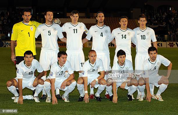 the team of Slovenia in action during the FIFA 2010 World Cup Group 3 Qualifying match between San Marino and Slovenia at Stadio Olimpico on October...