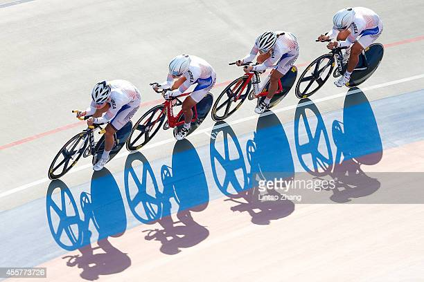 The team of South Korea competes in Cycling Track Men's Team Pursuit Qualifying during the 2014 Asian Games at Incheon International Velodrome on...
