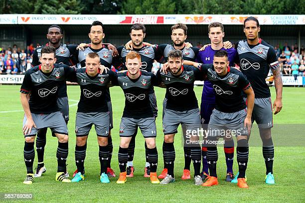 The team of Southampton pose for a photo prior to the friendly match between Twente Enschede and FC Southampton at Q20 Stadium on July 27, 2016 in...