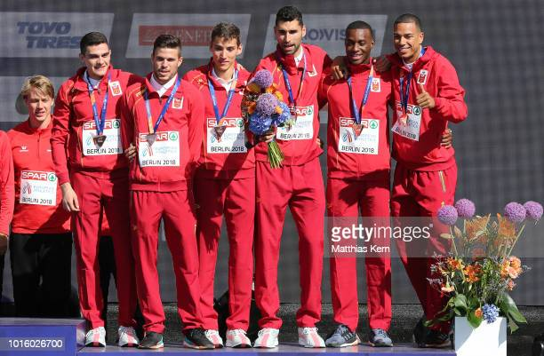 The team of Spain bronze pose with their medals for the Men's 4x400 metres Relay during day six of the 24th European Athletics Championships at...