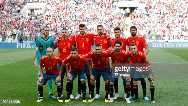 The team of Spain poses for a team photo prior to the 2018 FIFA World Cup Russia match between Spain and Russia at Luzhniki Stadium on July 01 2018...