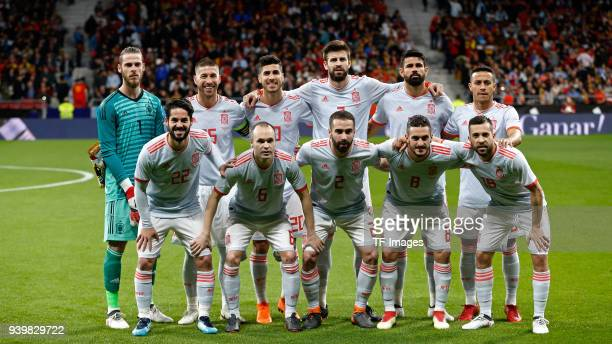 The team of Spain poses for a team photo prior to the international friendly between Spain and Argentina at Wanda Metropolitano on March 27 2018 in...