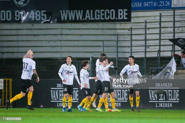 The team of Sporting Lokeren celebrates after scoring the 1-0 goal during the Proximus League match between Sporting Lokeren and OH Leuven at the...