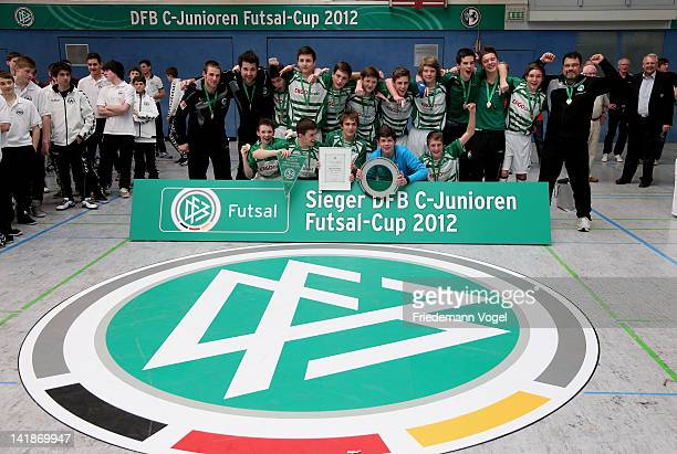 The team of SpVgg Greuther Fuerth celebrates after winning the DFB CJuniors Futsal Cup on March 25 2012 in Bergkamen Germany