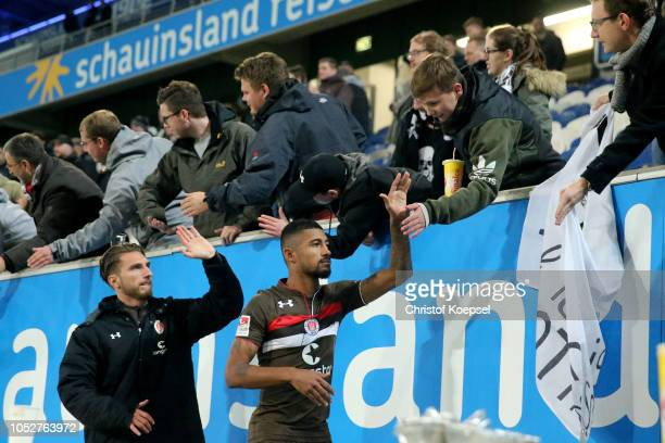 The team of St Pauli celebrate with the fans after winning 10 the Second Bundesliga match between MSV Duisburg and FC St Pauli at...