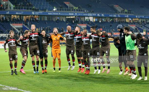 The team of St Pauli celebrates after winning 10 the Second Bundesliga match between MSV Duisburg and FC St Pauli at SchauinslandReisenArena on...