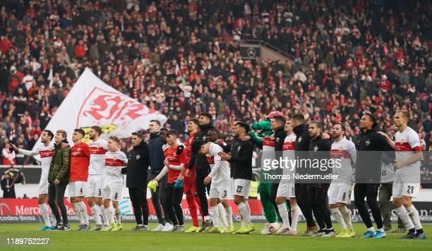 The team of Stuttgart celebrates after the Second Bundesliga match between VfB Stuttgart and Karlsruher SC at Mercedes-Benz Arena on November 24,...