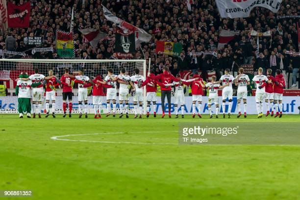 The team of Stuttgart celebrates after winning the Bundesliga match between VfB Stuttgart and Hertha BSC at MercedesBenz Arena on January 13 2018 in...