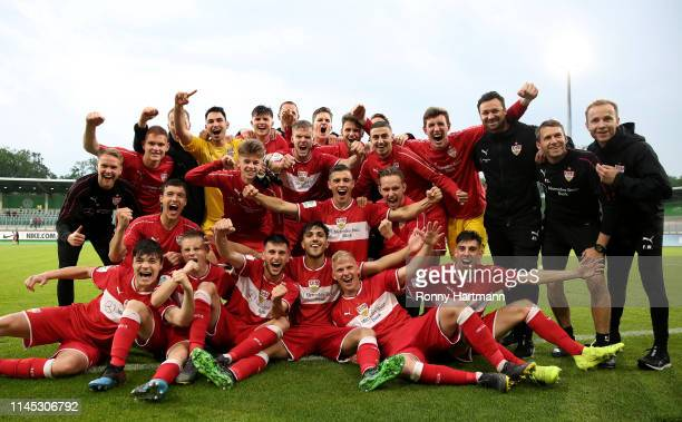 The team of Stuttgart celebrates after winning the penalty shootout during the U19 German Championship Semi Final second leg match between VfL...