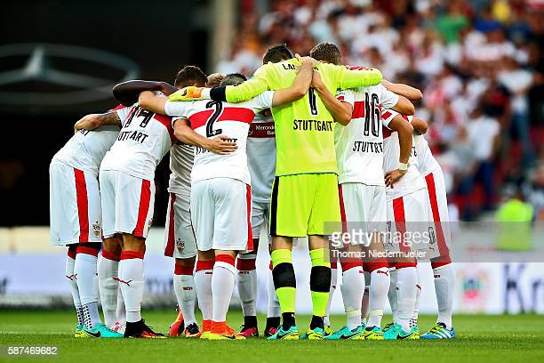 The team of Stuttgart is seen prior to the Second Bundesliga match between VfB Stuttgart and FC St Pauli at MercedesBenz Arena on August 8 2016 in...
