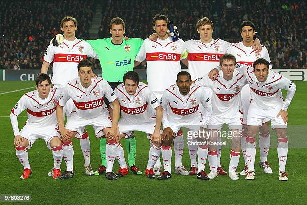 The team of Stuttgart poses before the UEFA Champions League round of sixteen second leg match between FC Barcelona and VfB Stuttgart at the Camp Nou...