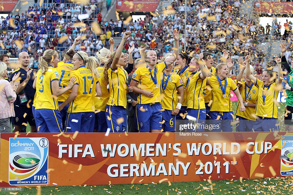 The team of Sweden celebrate after the FIFA Women's World Cup 2011 3rd place playoff match between Sweden and France at Rhein-Neckar Arena on July 16, 2011 in Sinsheim, Germany.