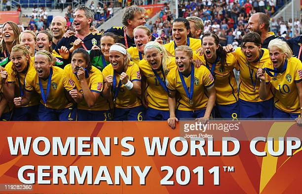 The team of Sweden celebrates after winning the FIFA Women's 3rd Place Playoff match between Sweden and France at RheinNeckar Arena on July 16 2011...