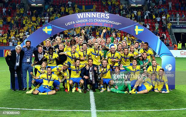 The team of Sweden celebrates after winning the UEFA European Under21 final match between Sweden and Portugal at Eden Stadium on June 30 2015 in...
