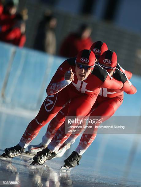 The team of Switzerland competes in the men team pursuit during day 1 of ISU speed skating junior world cup at ice rink Pine stadium on January 16...