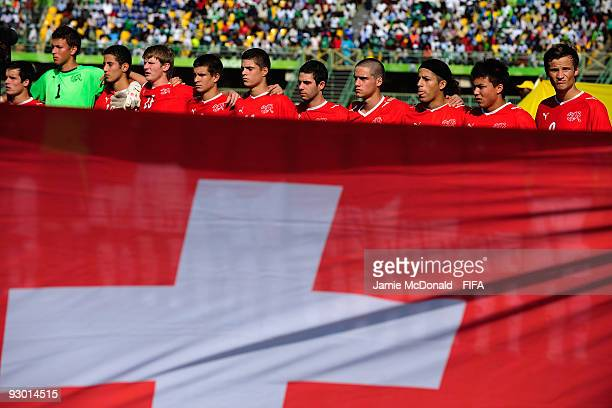 The team of Switzerland line up for the national anthems during the FIFA U17 World Cup SemiFinal 1 between Colombia and Switzerland at the Teslim...