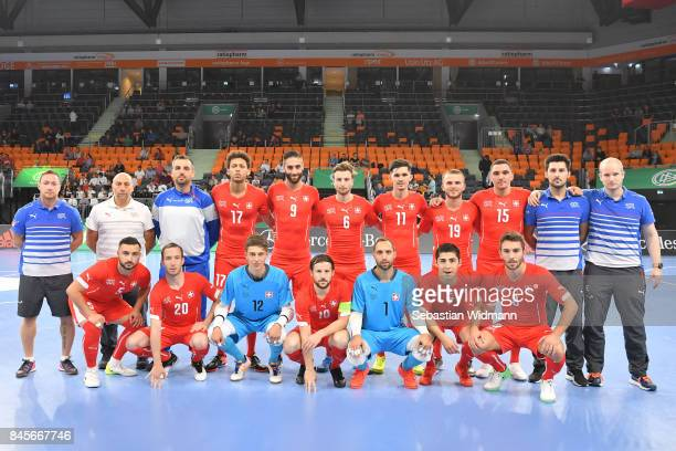 The team of Switzerland lines up prior to the Futsal Four Nations Tournament match between Turkey and Switzerland at ratiopharm Arena on September 11...