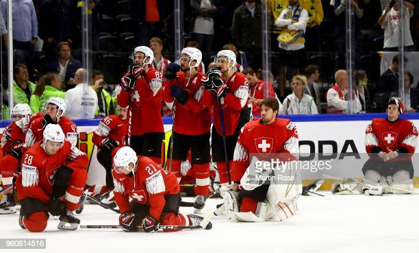 The team of Switzerland looks dejected after the 2018 IIHF Ice Hockey World Championship Gold Medal Game game between Sweden and Switzerland at Royal...